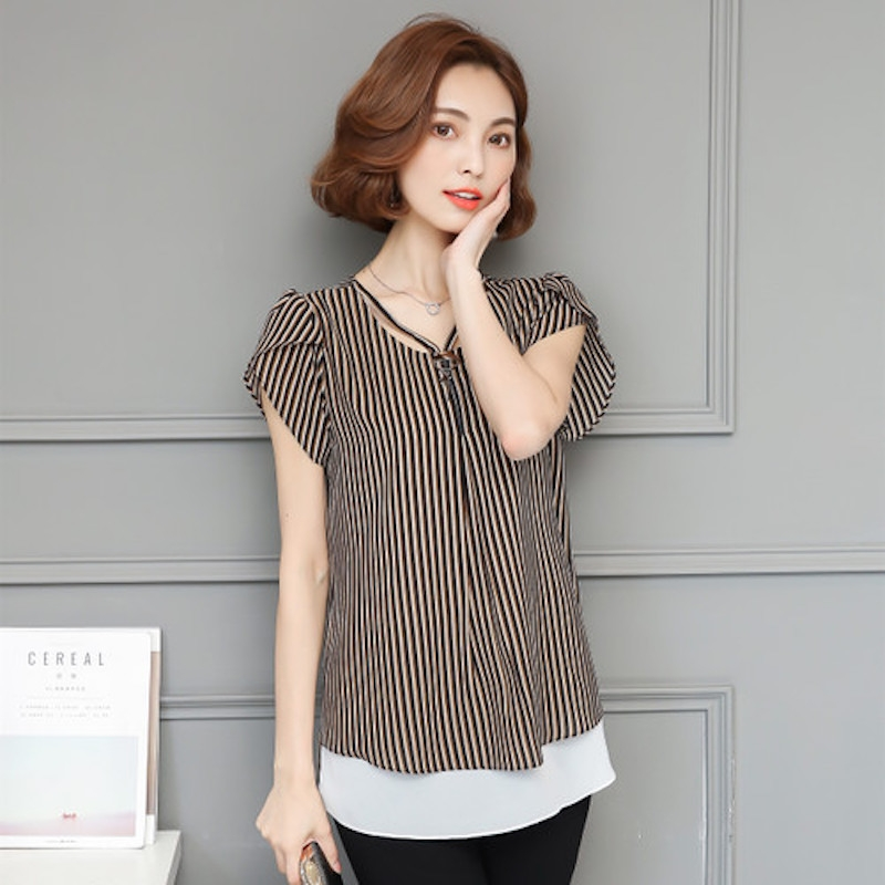 e1fd705bfb9e28 Summer Fashion Chiffon Stripes Plus Size Women T-Shirt Coffee l  Product  No  1431751. Item specifics  Brand