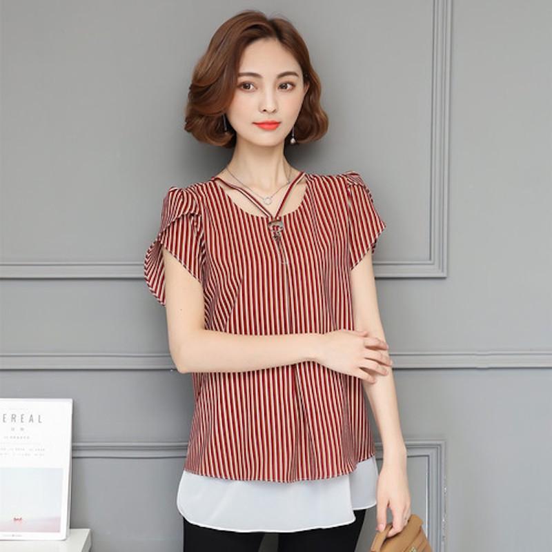 f0428ffe644f30 Summer Fashion Chiffon Stripes Plus Size Women T-Shirt red l  Product No   1431745. Item specifics  Brand