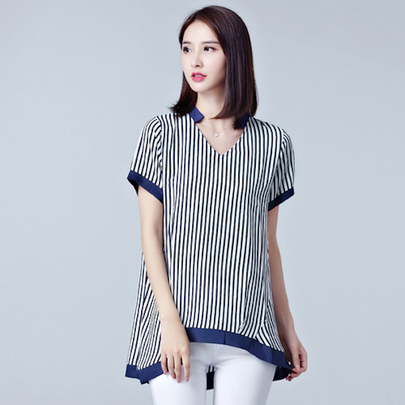 838e8c92b3dbb6 Summer Chiffon Young Fashion Stripes Plus Size Women T-Shirt blue 2xl   Product No  1434369. Item specifics  Brand