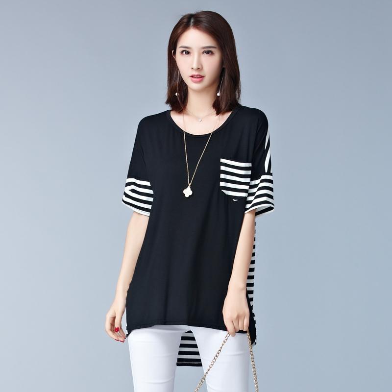 d9efc265dd17c9 Summer Fashion Stripes Cotton Loose Plus Size Women T-Shirt black l   Product No  1438579. Item specifics  Brand