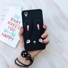 For OPPO A37 a57 a59 a83 case sweet Candy cute rabbit silicon Phone Cases Soft TPU Rubber Cover black for oppo A37