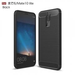 For huawei mate 10 lite Cover Carbon Fiber silicon Cases For Honor 9i Mate 10 Lite Nova 2i Cover black case