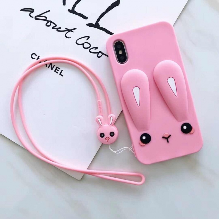 new arrival 34086 95556 sweet Candy cute rabbit silicon Phone Cases full Soft TPU Rubber Cover pink  for iphone 6plus 6splus