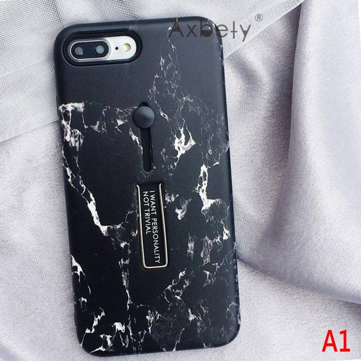 size 40 1a288 fa6b5 For iphone 6 6s XS MAX 7/8 PLUS Marble silicon Phone Case For iphone XR  Case Hide Stand Holder Cover #1 For i7 plus 8 plus