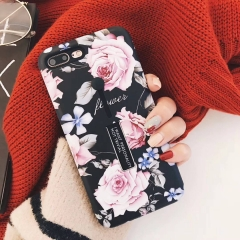 For iphone 7 8 6s 6 Plus Fashion Flower silicon Ring Phone Case Hide Stand Holder Cover A1 for i6 6s