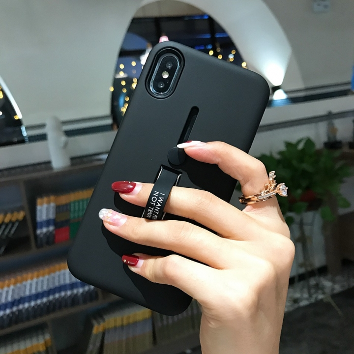 hot sale online fde1d eb7bd Axbety Fashion Kickstand Case For iPhone X XS Max XR Finger Loop Strap  Cover Armor Shockproof Case black For iPhone XS Max