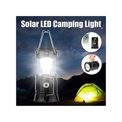LED Portable Solar Rechargeable Light Lantern Outdoor Camping Lamp USB Charger Black black 34 common black LED