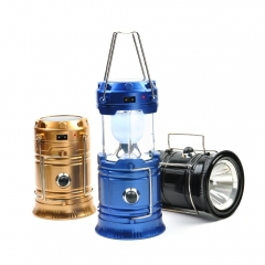 6 LED Hand Lamp Portable Leled Light Solar Collapsible Camping Lantern Tent Lights Blue Outdoor
