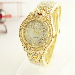 CONTENA Famous Brand Luxury Geneva Ladies' Quartz Wrist Watch Women Crystal Full Diamond Fashion Gold