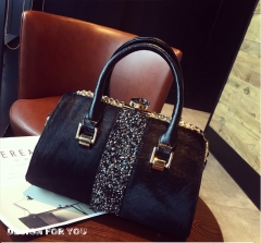 WANYU FASHION boutique luxury Women fashion hand shoulder bag with mohair diamond stone decaration black one size