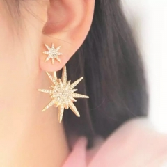 Valentines Gift Earings Gold White Rhinestone star Shape girls Earrings fashionJewellry gold 1 size