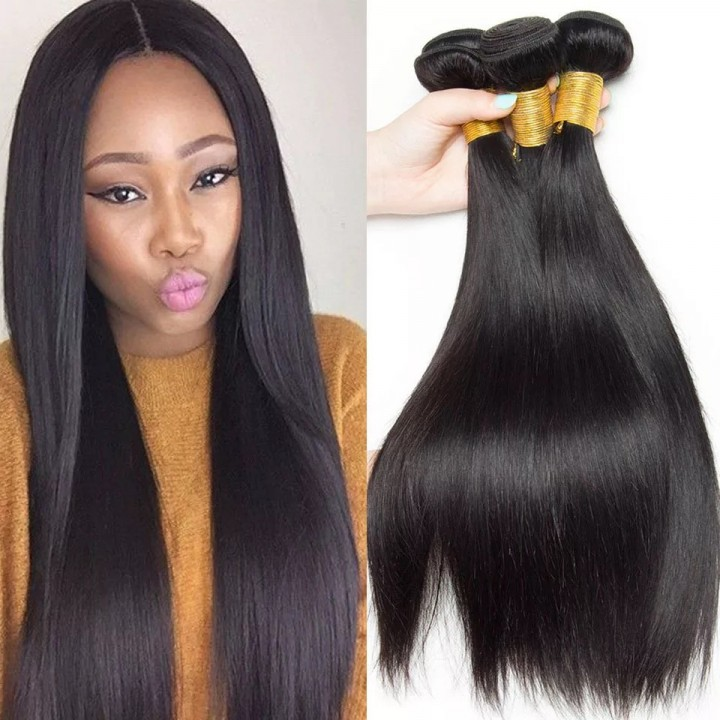 High Quality 100% 7A Remy Brazilian Hair Straight Human Hair Weave Natural Black Color Natural black 12 inch