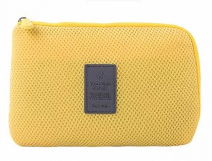 Travel Electronic Digital Accessories Storage Data earphone Cable Charger USB Organizer pouchbag yellow one size