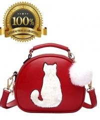 SUPER DURABLE BAG Girls Cute Cat Pom Fur Ball Crossbody Bag Sling Bag Handbag Shoulder Bag Satchel red one size