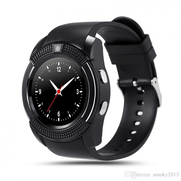 V8 Round Screen Smart Phone Touchscreen Watch with SIM Slot black one size