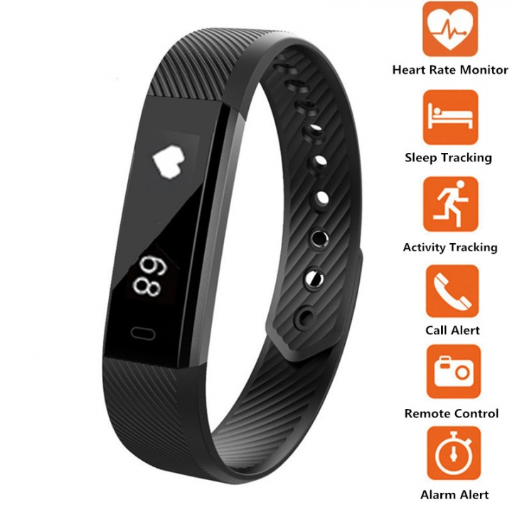Smart Fitness Heart Rate Exercise Watch black one size
