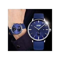 Skmei Mens Luxury Casual Leather Watch 9083 - Blue BLUE ROUND