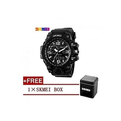 Skmei Waterproof Mens Sports Camouflage Compass Watch 1155 - black black medium
