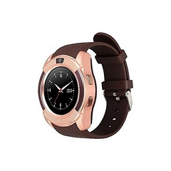 Generic V80 Touch Screen Smart Watch Phone with SIM Slot - Gold Brown gold medium