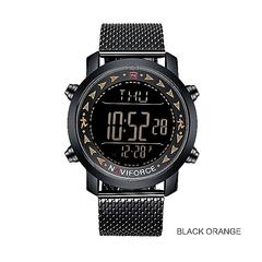 NAVIFORCE Men LED Digital Watch Sports Watches blak medium