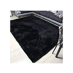 7*10 Fluffy Carpet - Black Black 7x10