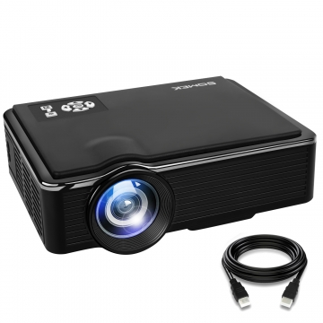 Projector SOMEK K99 2400 Lumens LED Mini 1080P Projector, Portable Movie Projector HDMI USB TF VGA Black 20.2*15.2*6.8