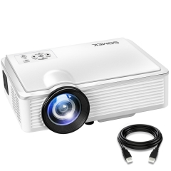 Projector SOMEK K99 2400 Lumens LED Mini 1080P Projector, Portable Movie Projector HDMI USB TF VGA White 20.2*15.2*6.8