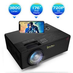 ONE-MIX Projector  3800 Lumens LED Mini 1080P  Portable Movie Projector HDMI USB TF VGA J5-Black 20.2*15.2*6.8