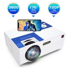 ONE-MIX Projector  3800 Lumens LED Mini 1080P  Portable Movie Projector HDMI USB TF VGA J5-White 20.2*15.2*6.8
