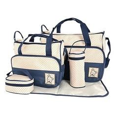 5 Pcs Baby Changing Diaper Nappy Bag Mummy Mother Handbag Multifunctional Set Blue, coffee, khaki, light blue, pink, purple, re Diaper bag:53*31cm