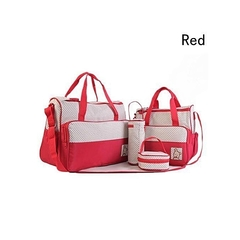 5 Pcs Baby Changing Diaper Nappy Bag Mummy Mother Handbag Multifunctional Set Red Red -