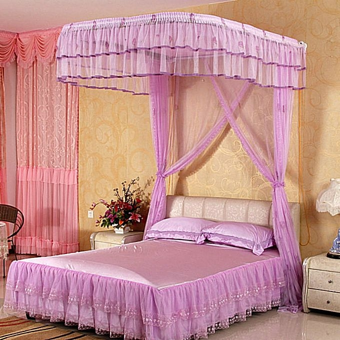 2stand mosquito net with rails purple 6*6