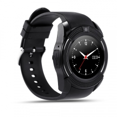 Smartwatch V8 Touch Screen Sports Round Screen Smart Phone Watch - Black black one