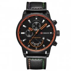CURREN 8217 Casual Men Millitary Grade Quartz Watch with Decorative Sub-dial Black One