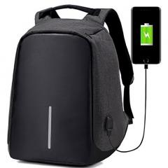 Anti-theft USB Charging Port laptop Backpack -Black BLACK L