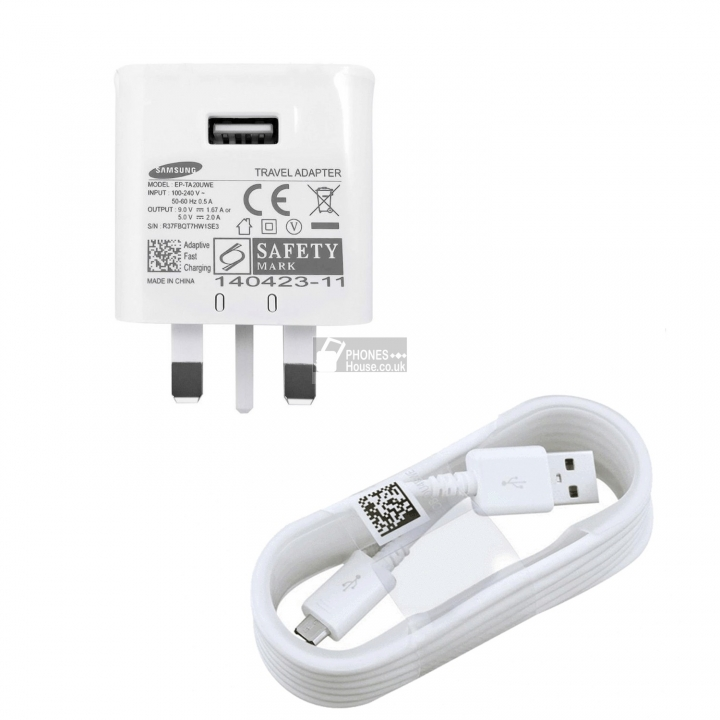 Samsung Galaxy Fast Adaptive Charger With Micro USB Cable (normal) white 1.4 x 0.9x 2.8mm