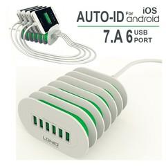 LDNIOL 6 USB Port Quick Charger - White white 15 x 5 x 3