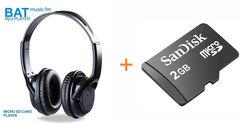 BAT  Headphones with SD Card - Black black
