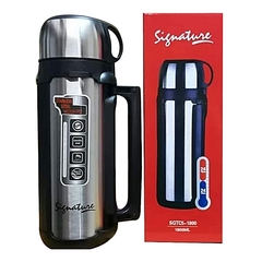 Signature Stainless Steel Double Wall Flask Hot Or Cold 1.8 Liters - Black silver 193 x 27 x 12.7