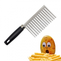 Potato French Fry Cutter Stainless Steel Kitchen Accessories Serrated Blade Wave Knife Chopper silver normal