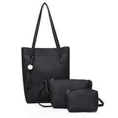 Ladies 3 in 1 Handbag Set; Hand Bag, Clutch Bag, Purse Black 3 in 1