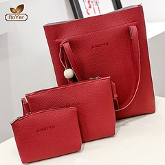 Fashionable Ladies 3 in 1 Handbag Set PU Leather Handbags Red 3 in 1
