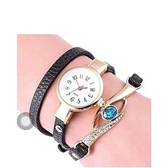 Fashion Bracelet Ladies Wrist Watch Faux Leather Watch Black One Size