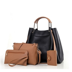 4 in 1 PU Leather handbag; Big bag, Sling Bag, Coin Purse and Card Holder Black & Brown 4 in 1