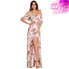 Girl  Dress Sexy  V collar Printing pattern Longuette S Pink
