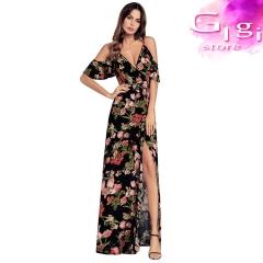 Girl  Dress Sexy  V collar Printing pattern Longuette S Black