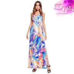 Lady  Dress  Sexy Sleeveless V collar Printing High waist Forking Longuette m Blue