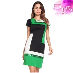 Lady Sequins Short skirt Circular collar Short sleeve s Green