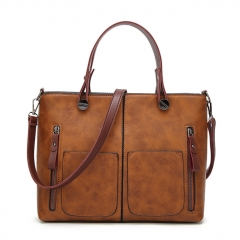 Vintage PU Shoulder Bag Female Causal Totes for Daily Shopping All-Purpose High Quality Dames Tassen brown larger