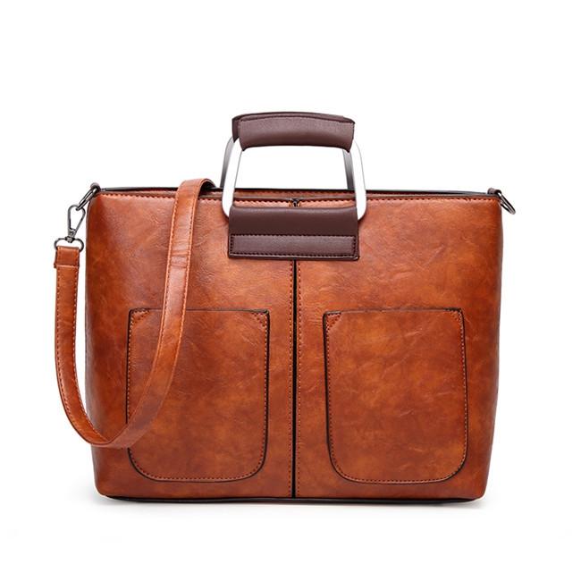 Vintage PU Leather Women Handbags Designer Fashion Casual Messenger Bag Large Capacity Shoulder Bag brown larger